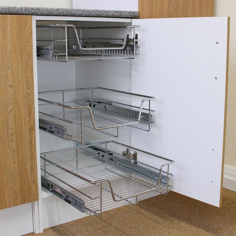 3 Pull Out Kitchen Storage Basket Rack Kitchen Wire Mesh Cabinet