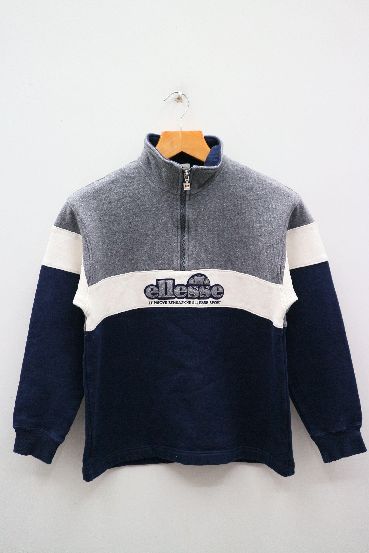 Vintage Ellesse Big Logo Embroidery  Sweatshirt Pullover Jumper Blue L