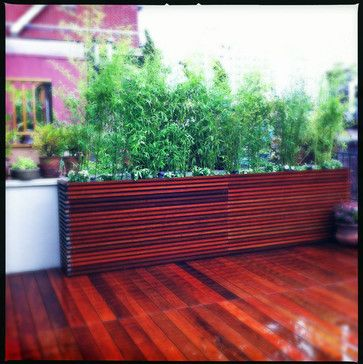 Chelsea roof deck ipe planter boxes bamboo privacy for Outdoor privacy screen planter
