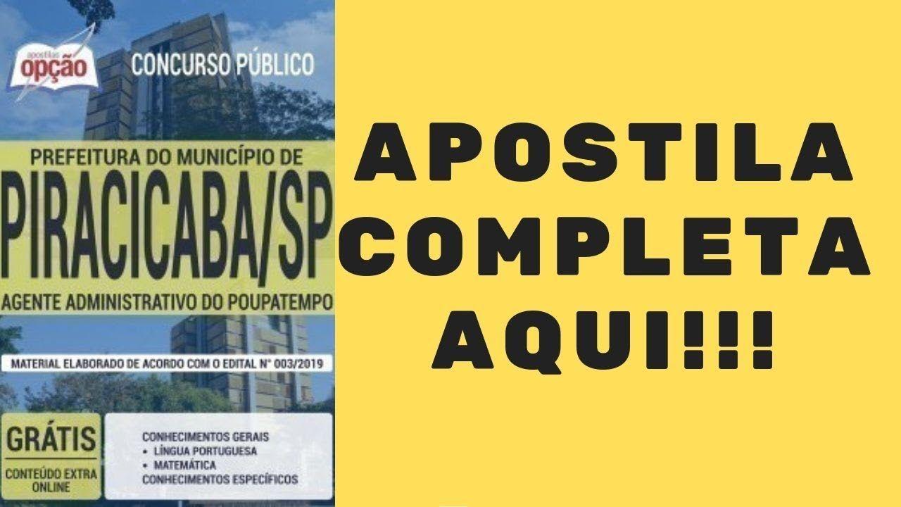 Apostila Concurso Prefeitura De Piracicaba 2019 Agente