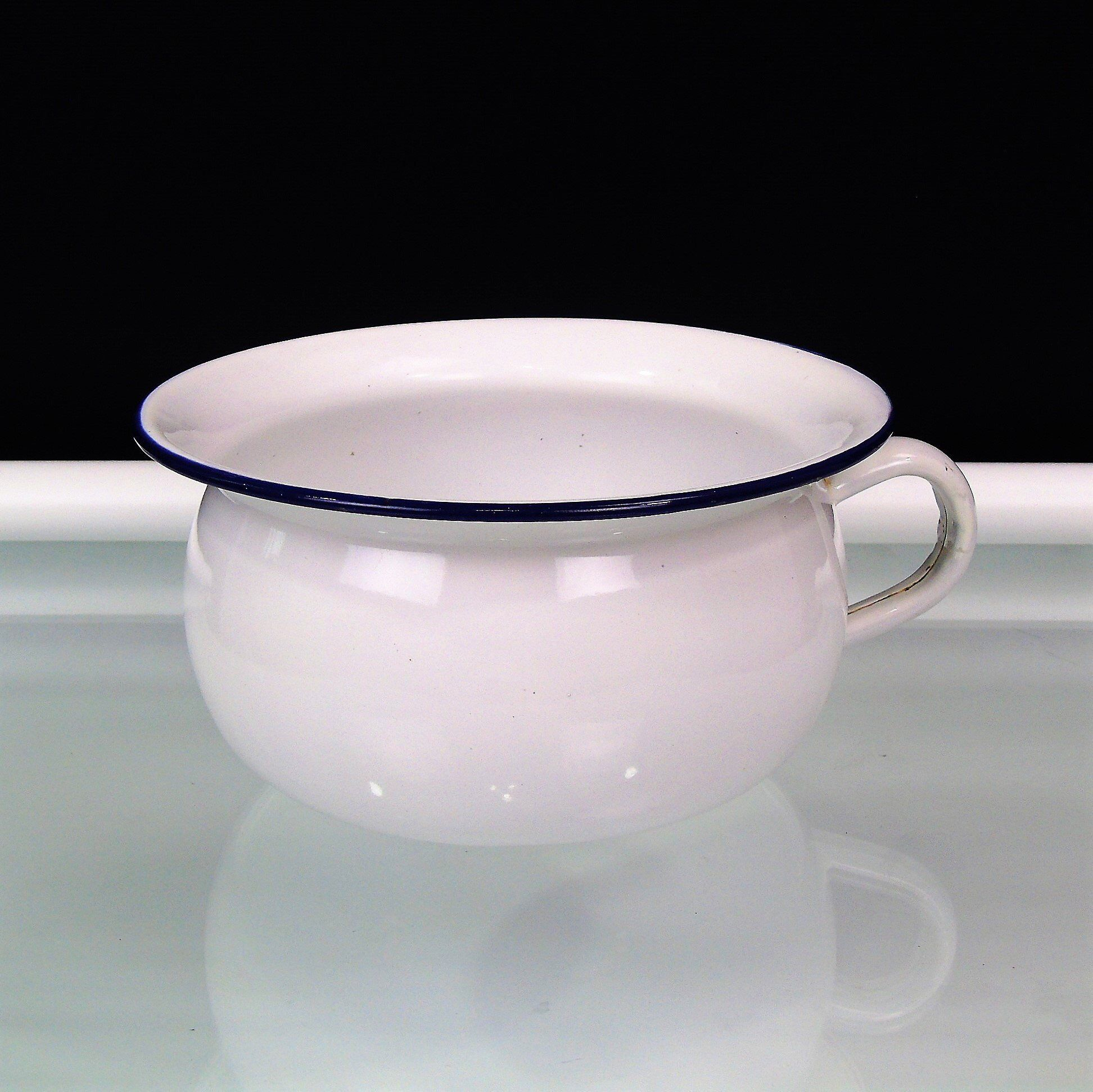 Vintage White Enamel Chamber Pot Potty Blue Trim DIY