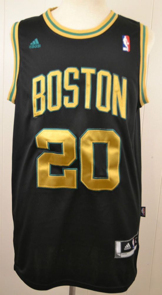 Adidas Boston Celtics Alternate Jersey Ray Allen Black Gold Large Sewn NBA   adidas  BostonCeltics 23af0b28f