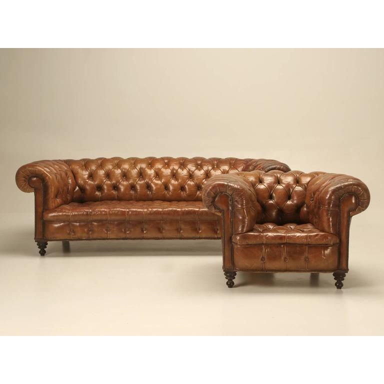 Composite Leather Sofa: Original Leather Antique Chesterfield Chair In 2019