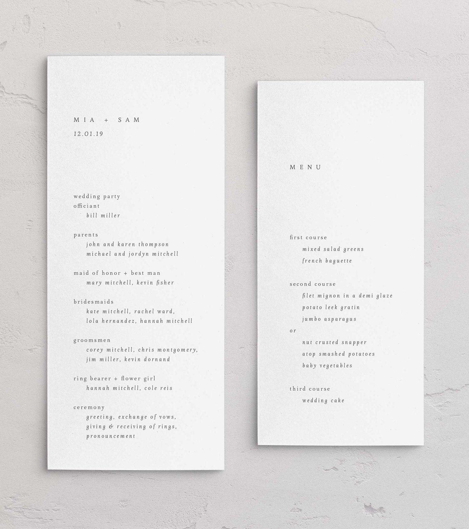 Mia Day Of Paper Wedding Invitations Letterpress Wedding Invitations Invites Save The Dates Calenda Wedding Programs Wedding Invitations Wedding Menu