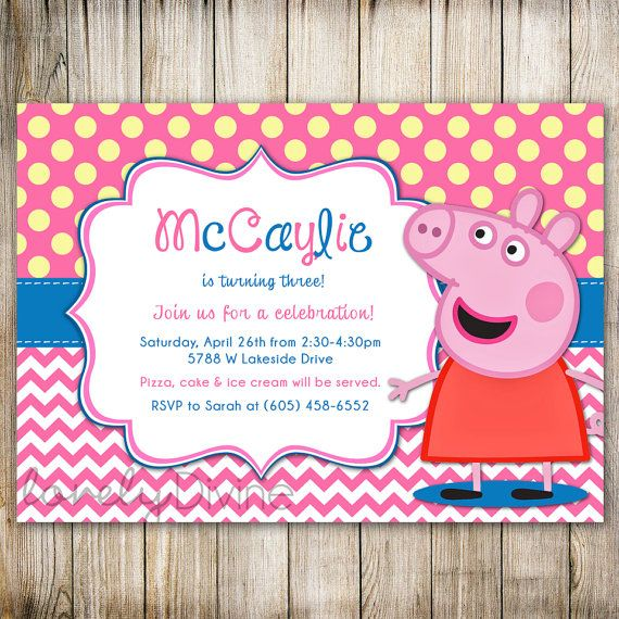 Peppa Pig Birthday Chevron Polka Dot 1st Invitation 2nd 3rd 4th 5th 6th PRINTABLE