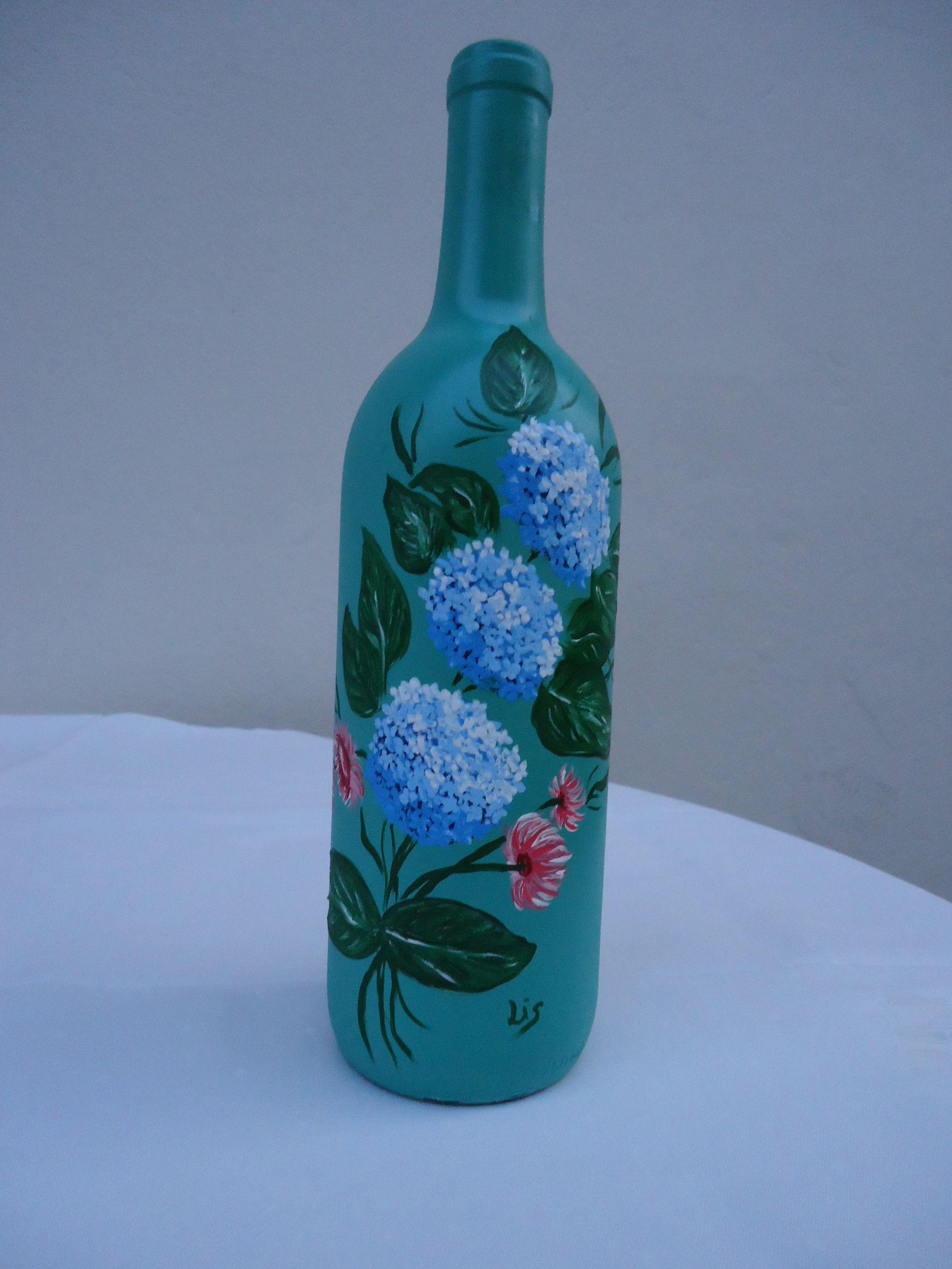 Garrafa Hortnsia pintada mo garrafas