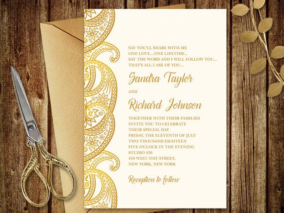Gold Wedding Invitation Quot Paisley Quot Printable Wedding Invitat Wedding Invitations Printable Templates Gold Wedding Invitations Wedding Invitations Diy