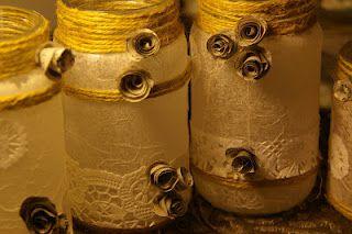 julzart: Glass & lace candle jars