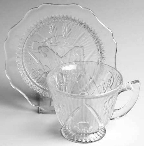Depression Glass Iris And Herringbone Cup And by treasurecoveally, $20.00