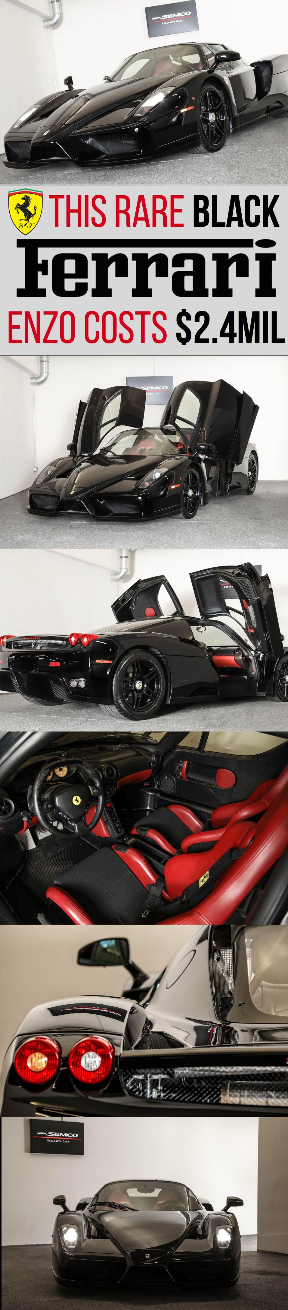 This Rare Black Enzo Ferrari Is Now Up For Sale For 2 4 Million Ferrari Ferrari Enzo Gt Cars