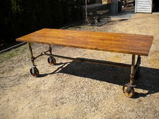 Charming 7ft Table Made With Recycled Wood, Pipes And Casters. Dining Table/Desk