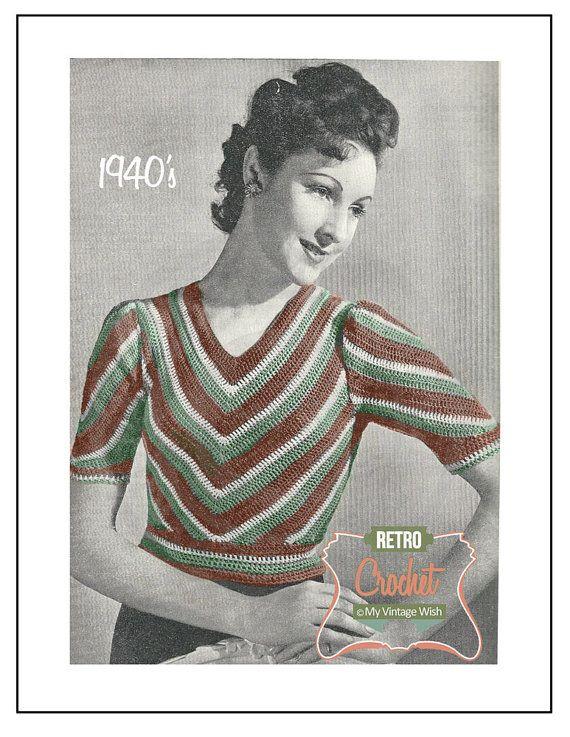 1940s Crochet Pattern Chevron Sweater Pdf Crochet Pattern Pdf