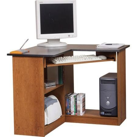 Orion Corner Computer Workstation Oak And Black Blossomz Http Www Amazon Com Dp B00v7qycd Corner Computer Desk Office Furniture Tables Home Office Furniture