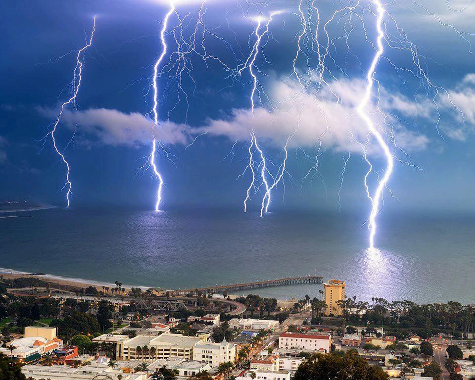 A dramatic lightning storm off the coast of Ventura California
