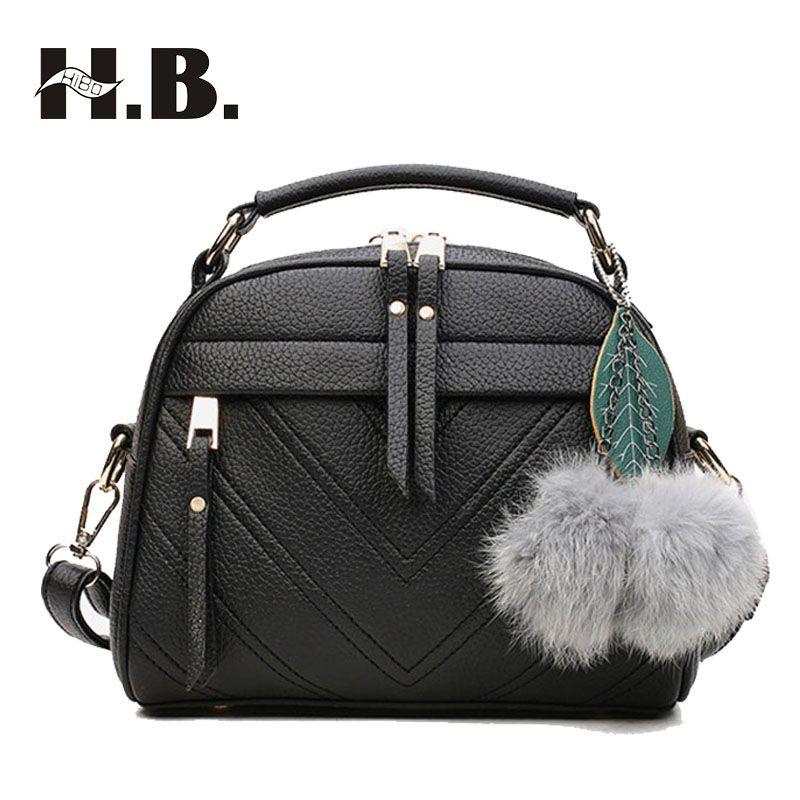 HIBO Ladies bag 2017 Korean version of the new female handbag simple  fashion shoulder bag Messenger bag women pack 2fa81dff949f4