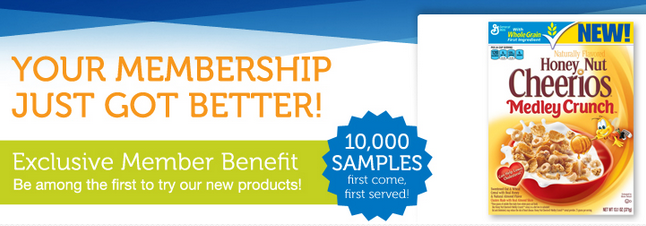 FREE $$ Sample of Honey Nut Cheerios Medley Crunch for Live Better America Members – HURRY!