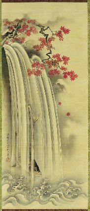 Carp and Waterfall with Autumn Foliage  紅葉に鯉図  Japanese, Edo period, mid to latter half of the 18th century  Koshiba Keizan, Japanese, dates unknown, Hanging scroll; ink and color on silk, MFA