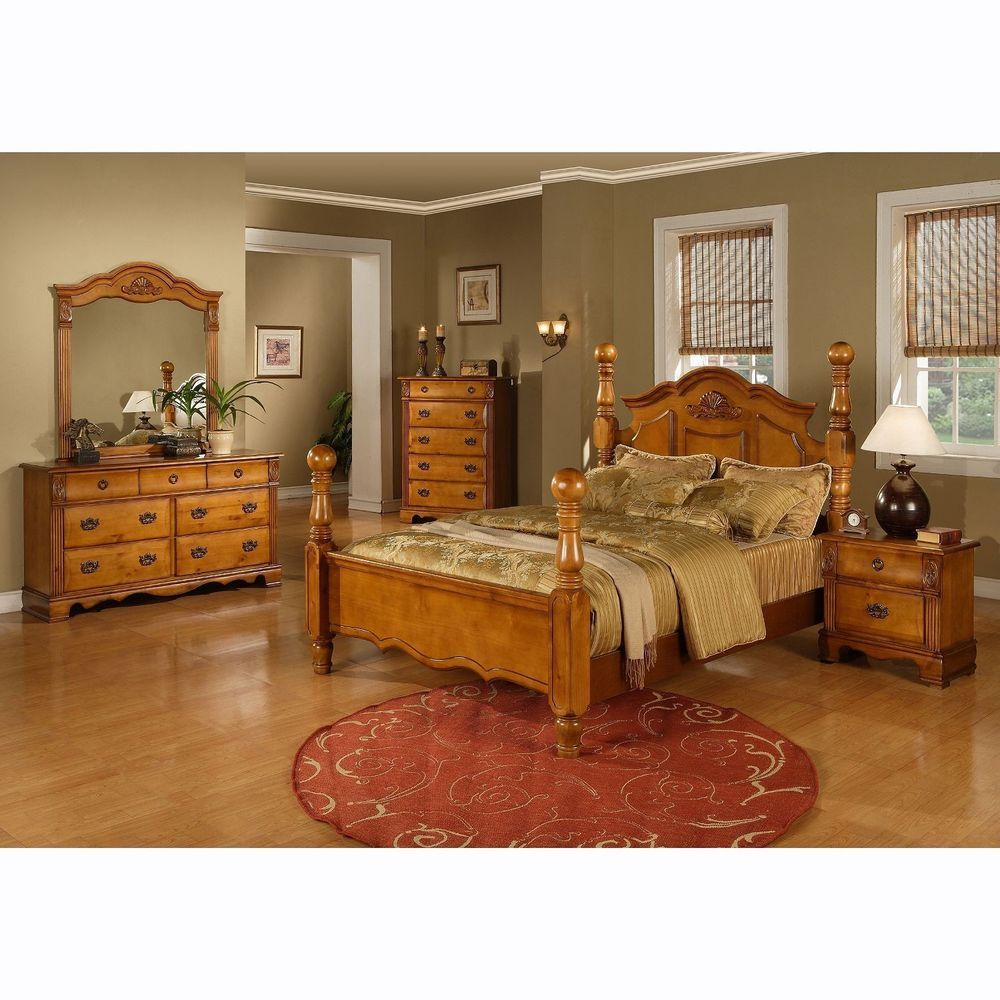 Four Poster Bed King Size Platform Bedroom Set Solid Wood Modern Furniture Master Bedroom Furniture Bedroom Sets Queen King Bedroom Sets