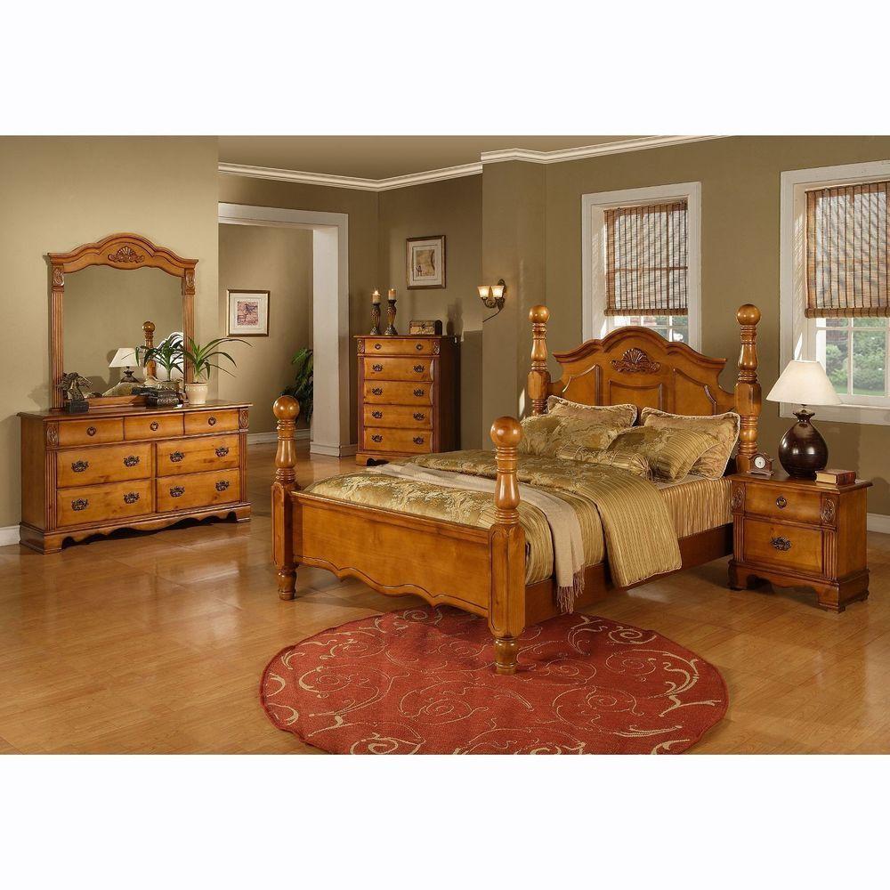 Four Poster Bed King Size Platform Bedroom Set Solid Wood ...