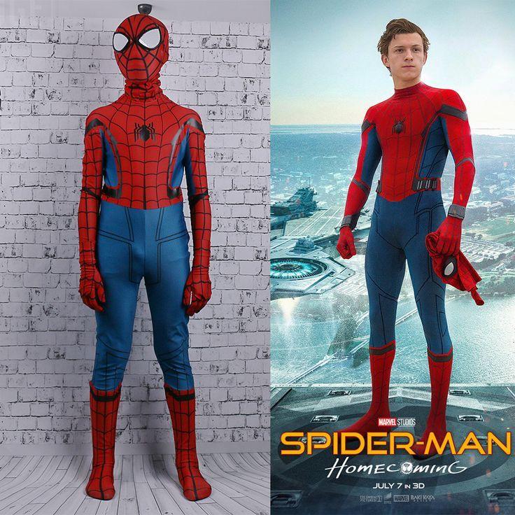 Click To Buy New Spider Man Homecoming Jumpsuit Spandex Superhero Kids Mask Jumpsuit Tight Cosplay Costume Orumcek Adam Kostum Cadilar Bayrami Kostumleri