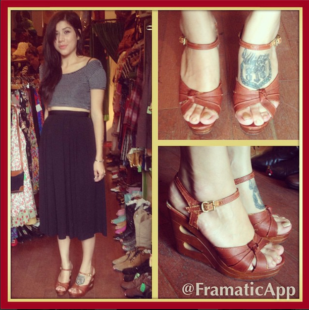 Cute customer, cute 1970's platform wedge sandals, a match made in heaven.