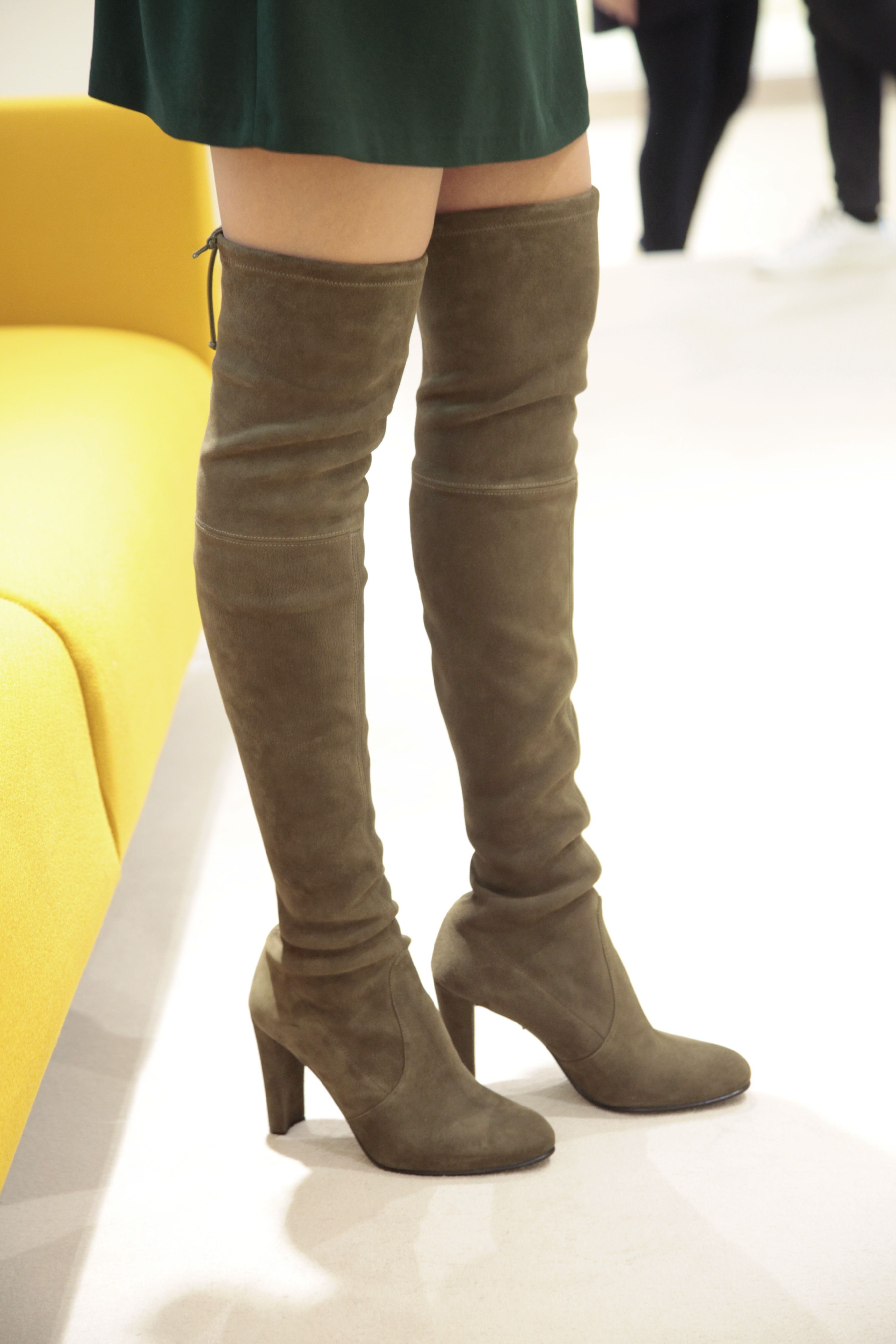 fc6d7e5980f9 Stuart Weitzman Highland boots in olive stretch suede. shop.wunderl ...