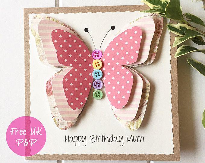 Congratulations Card Handmade Card Butterfly Mum Birthday