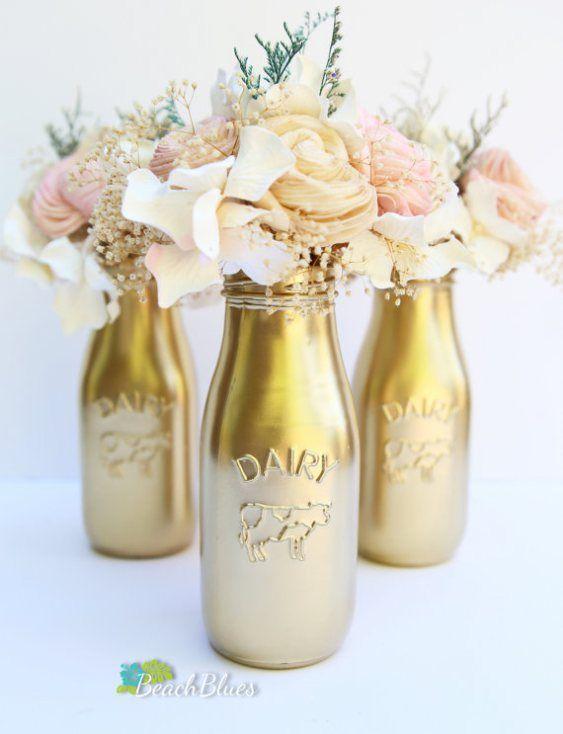 Milk Bottle Decorations Custom Milk Bottle Short Vases Sprayed Pink And Gold For Center Pieces Design Decoration