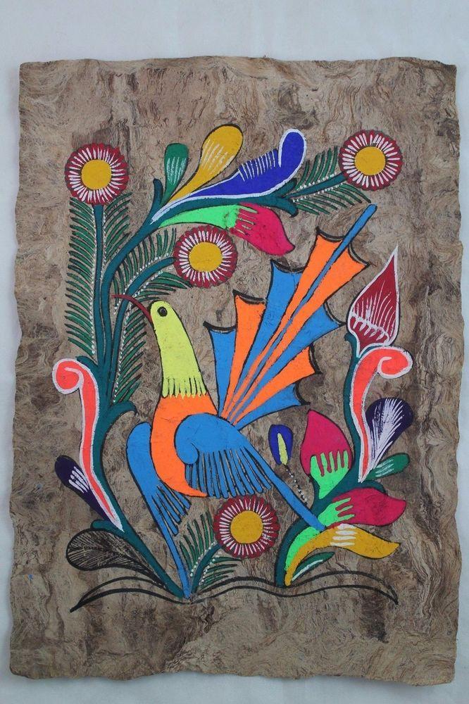 Mexican Folk Art Wall Decor Craft Painting Handmade Bark ...