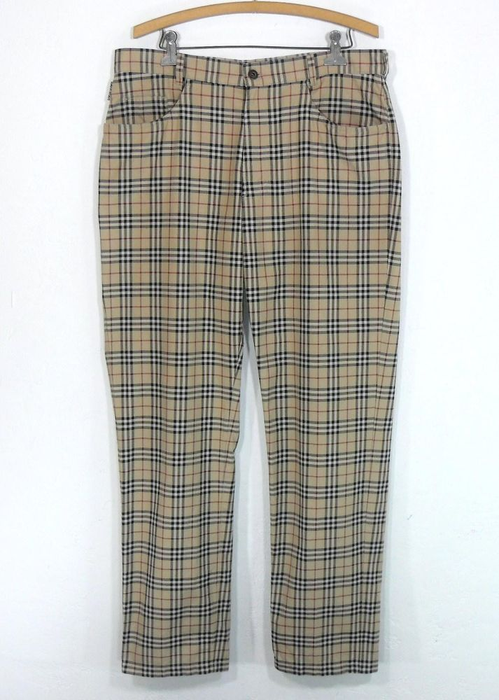 74badc79f BURBERRY LONDON NOVA CHECK PLAID COTTON FLAT FRONT MENS PANTS 36 casual  golf  Burberry  CasualPants