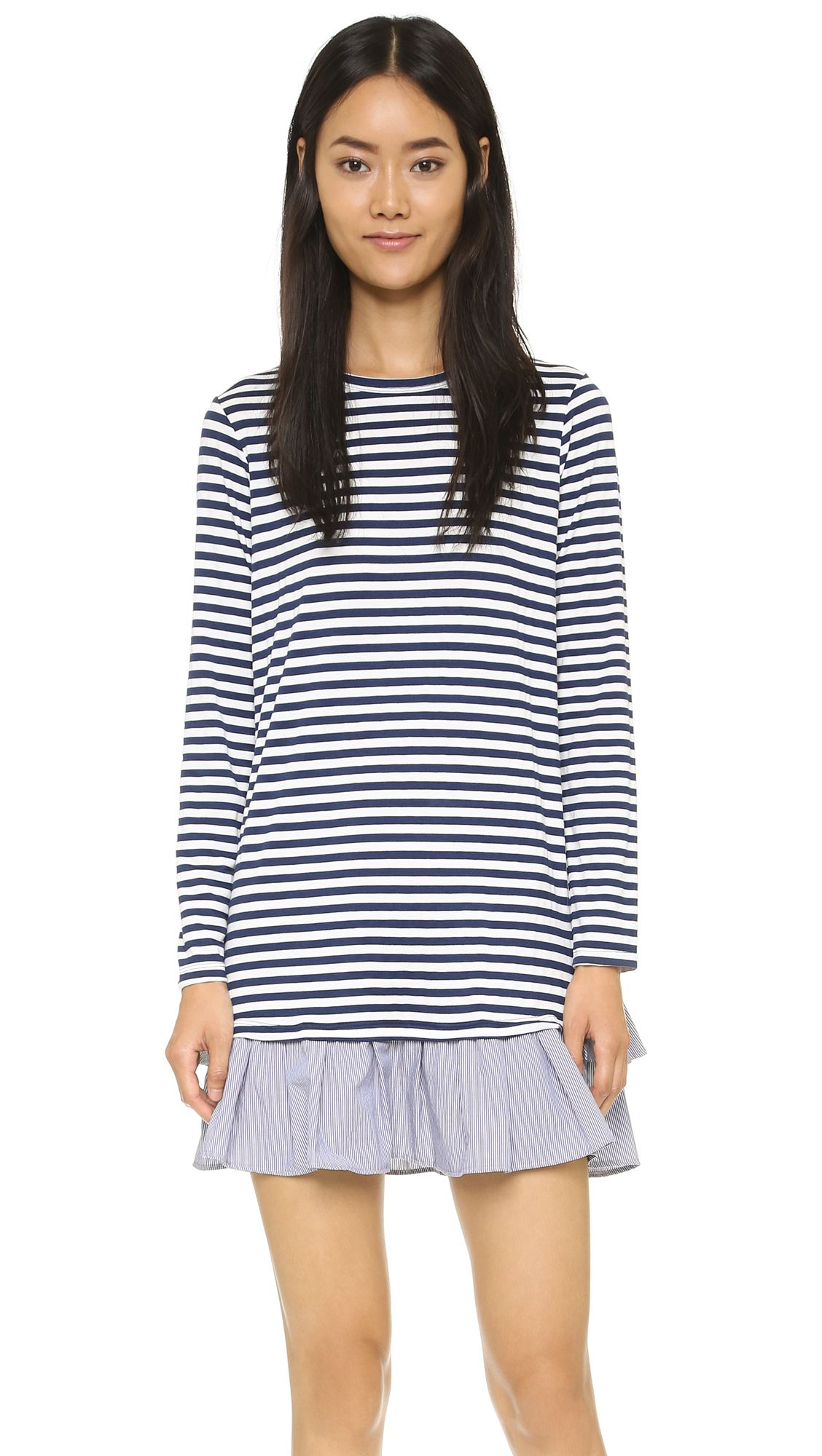 Clu long sleeve ruffle tee dress navy stripe shopbopcom saved