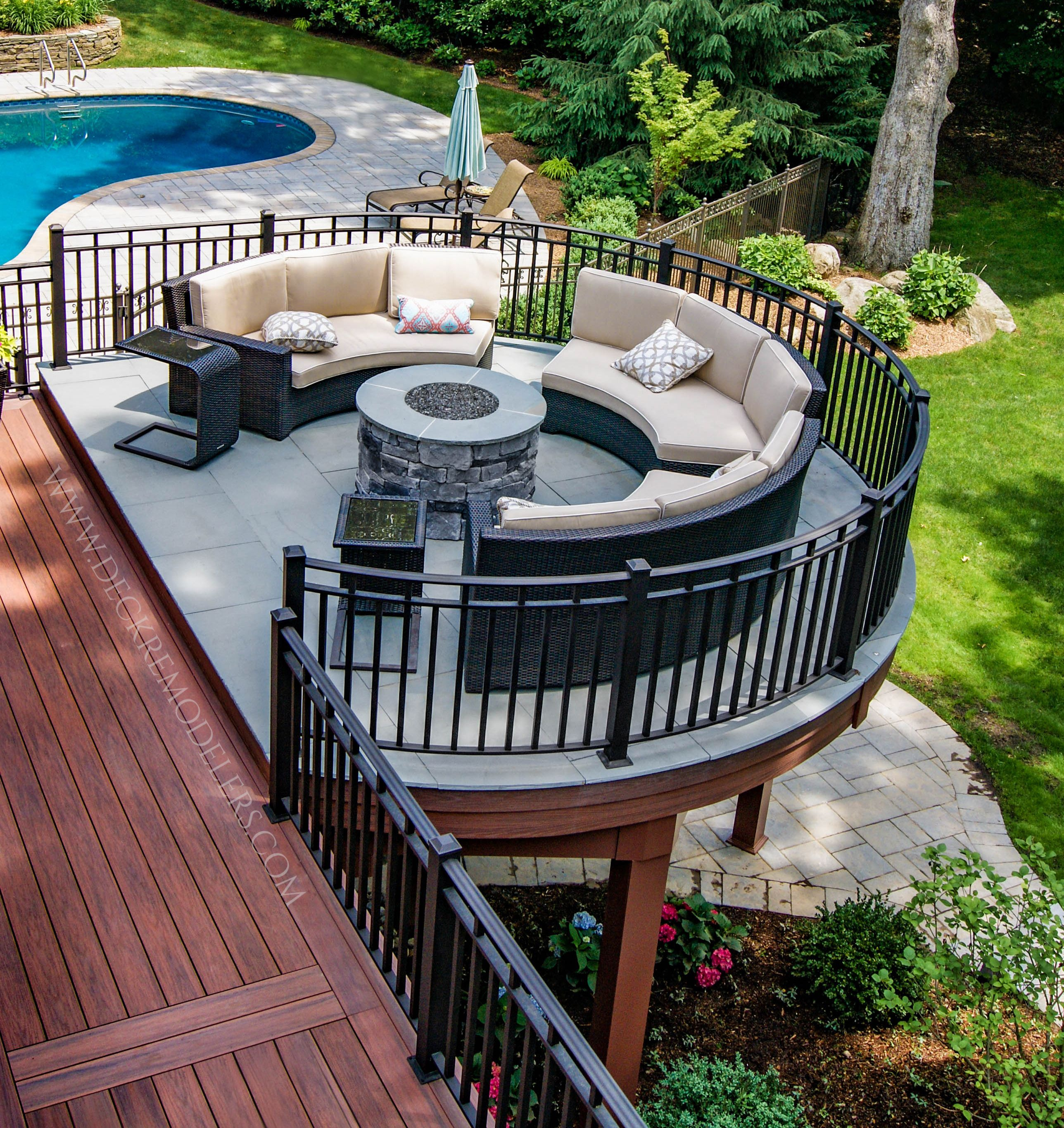 Tante S Fr Loves This Watch Your Kids In The Pool From This Elevateddeck With An Awesome Firepit Patio Deck Designs Deck Designs Backyard Patio Design