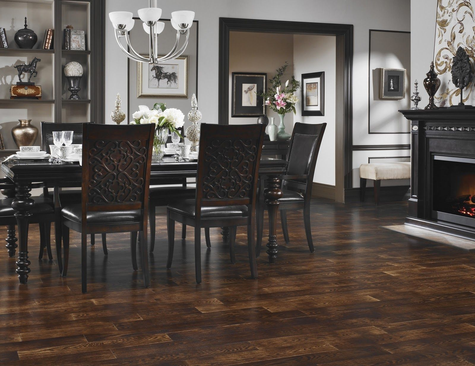 Flooring For Dining Room Creative Classic Chic Home Living With Dark Hardwood Floors Gorgeous Room
