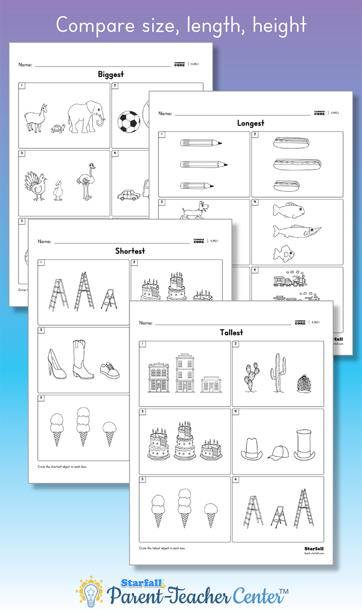 Worksheets Starfall Worksheets which is biggest smallest longest shortest tallest customize and download worksheets to practice these skills free