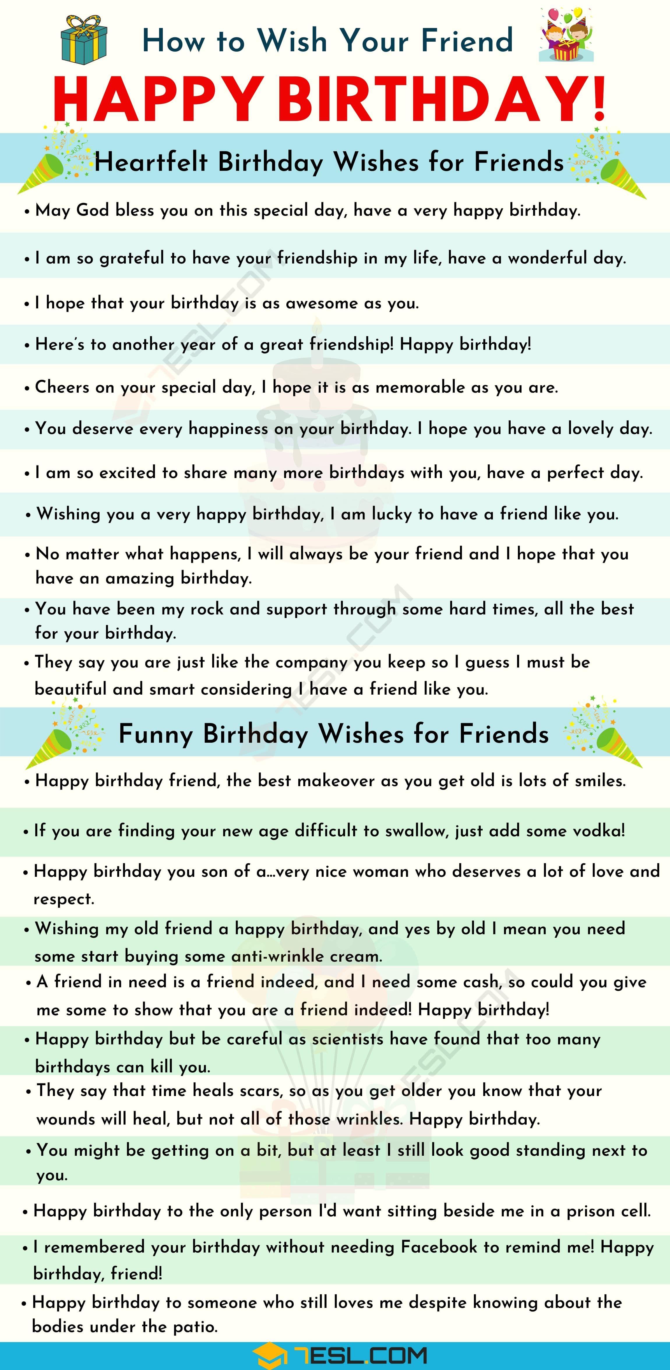 Happy Birthday Friend 35 Heartfelt And Funny Birthday Wishes For Friends 7 E S L In 2020 Wishes For Friends Birthday Wishes Funny Birthday Quotes For Girlfriend