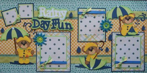 Rainy Day Fun Boy Girl 2 Premade Scrapbook Pages