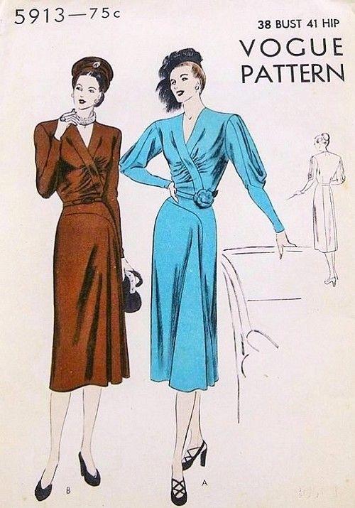 1940s Beautiful Dress Pattern Vogue 5913 Film Noir Front Godet Dress Flattering Gathered Bodice Regular or Striking Draped Sleeves Day or Cocktail Evening Dress Bust 38 Vintage Sewing Pattern FACTORY FOLDED