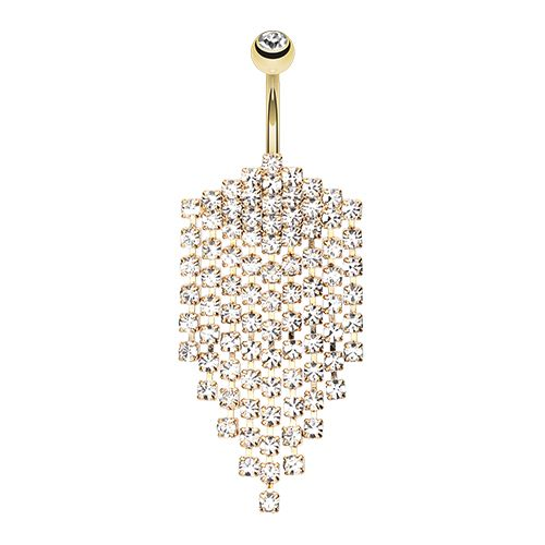 Golden water droplets belly dangle sensational gold gem chandelier find thousands of belly button rings at the belly ring shop for your navel piercing huge range of belly bars mozeypictures Images