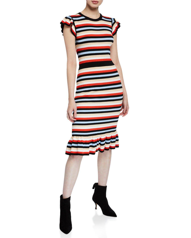 Shoshanna Fornilla Crewneck Cap Sleeve Multi Striped Midi Dress Striped Knit Dress Striped Midi Dress Midi Dress [ 1500 x 1200 Pixel ]