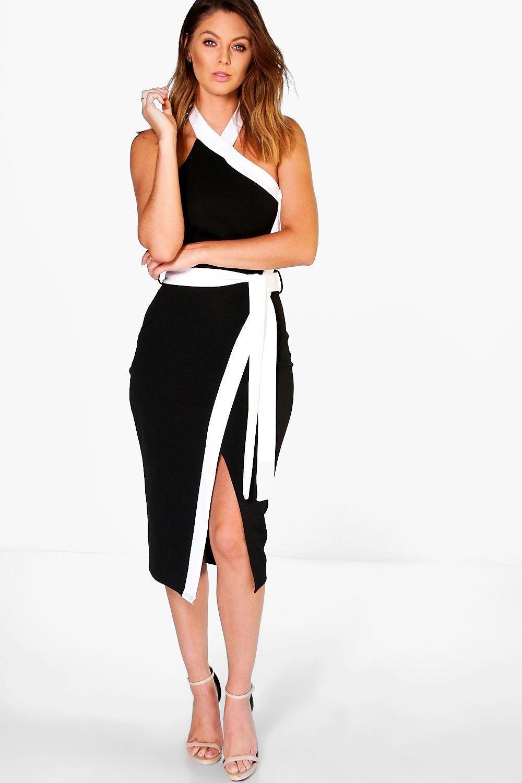 Bekki High Neck Wrap Tie Contrast Midi Dress