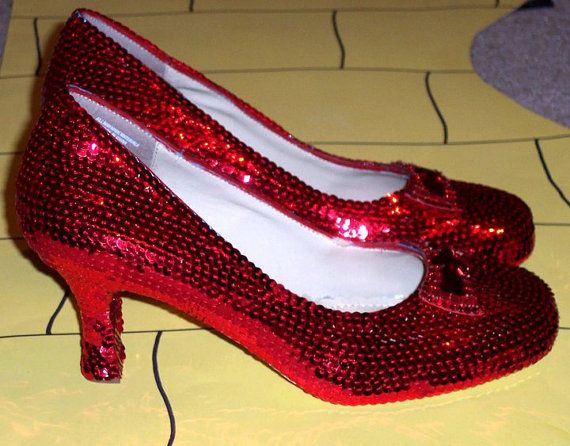 fe31596e1 Custom Style Sequin and Rhinestone Dorothy Ruby Red Slippers Wizard of Oz  Weddings Halloween Ballet Flats Round or Pointed Toe Stilettos on Etsy