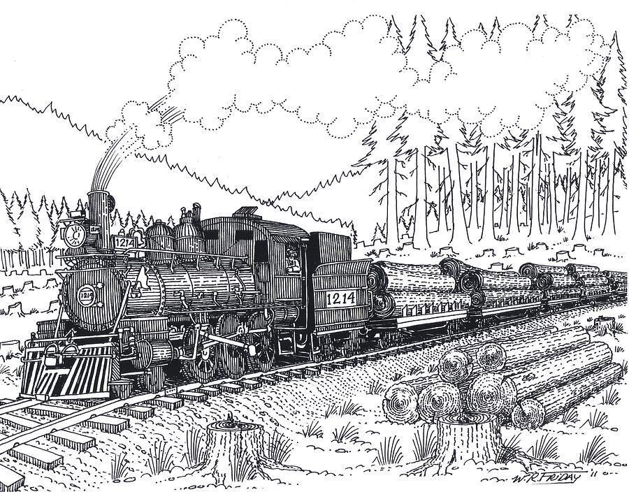 Log Train Drawing Log Train Fine Art Print Train Drawing