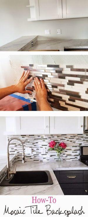 diy glass mosaic tile backsplash gray lower white upper cabinets