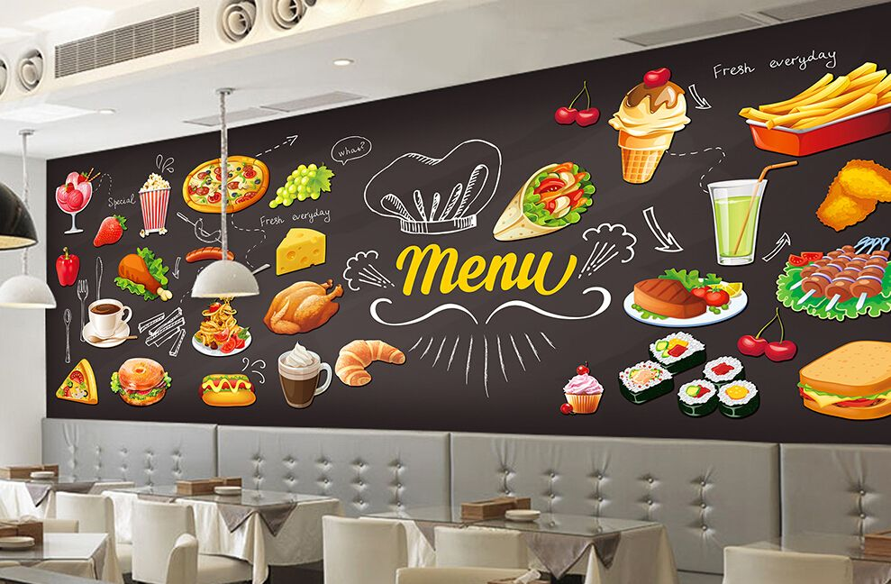 Custom retro wallpaper,Handpainted Food,3D three