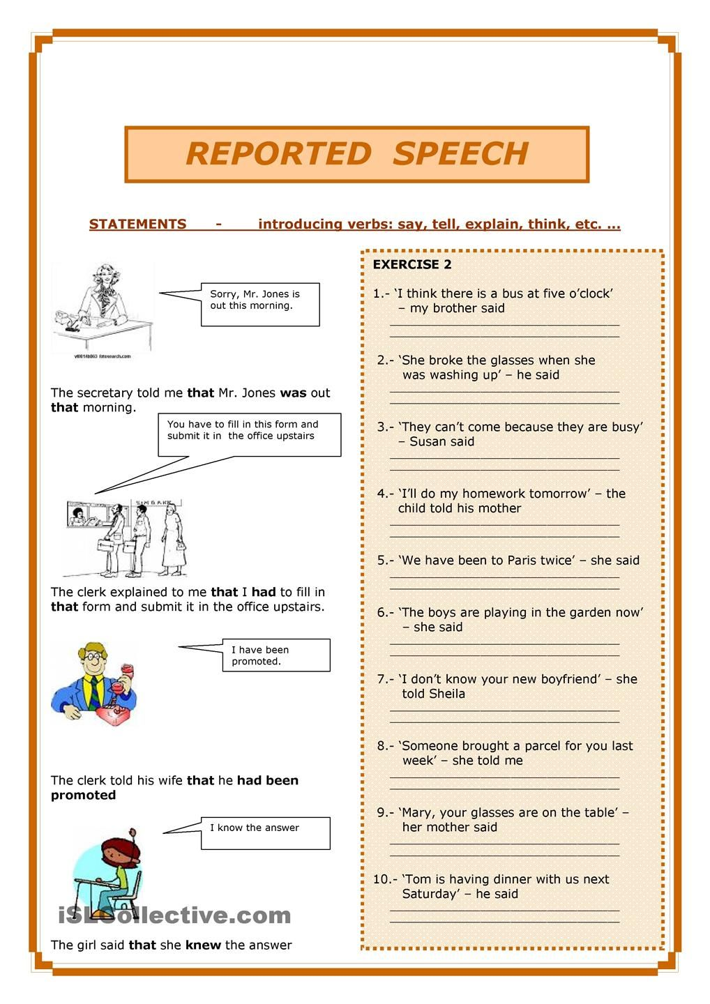 small resolution of Reported Speech   Reported speech