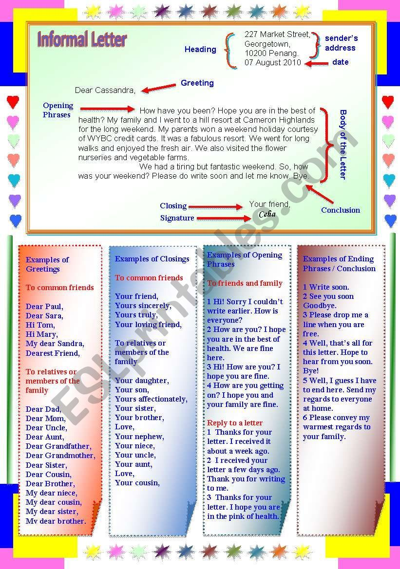 Format of Informal Letter Poster for students Informal