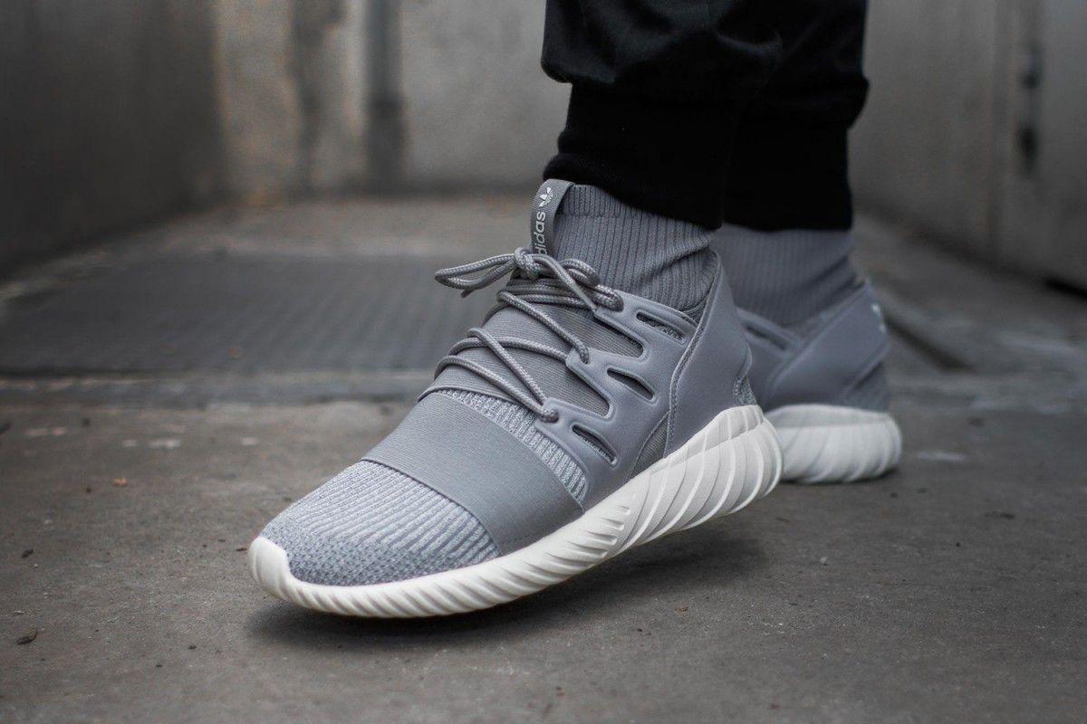 adidas tubular doom primeknit light grey trainers