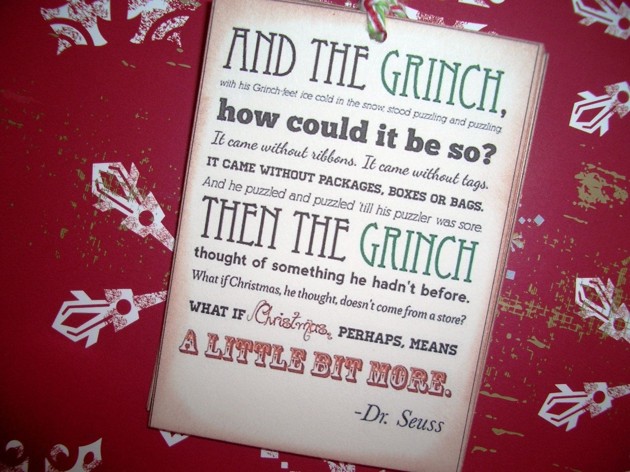 Christmas Tags - Grinch Poem - Dr. Seuss - Meaning of Christmas ...