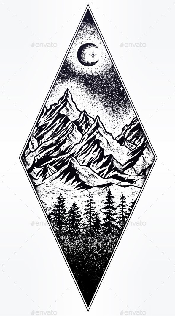 Photo of Hand drawn nature pine forest with mountains landscape, beautiful moon, sky with…
