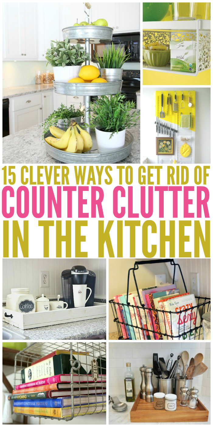 15 clever ways to get rid of kitchen counter clutter | glue sticks